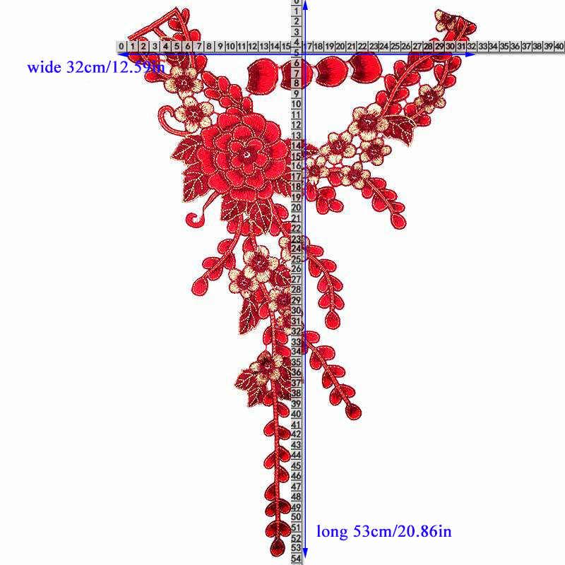 جديد الأحمر زهرة المطرزة الدانتيل النسيج DIY للذوبان في الماء زهرة الملونة العنق ل الدانتيل تقليم الملابس الخياطة زين لوازم