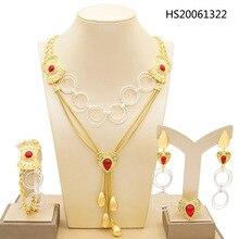 Yulaili Nieuwe Fashion Party Bruiloft Vrouwen Geometrische Vorm Ketting Oorbellen Armband Ring Shining Crystal Dubai Gouden Sieraden Sets