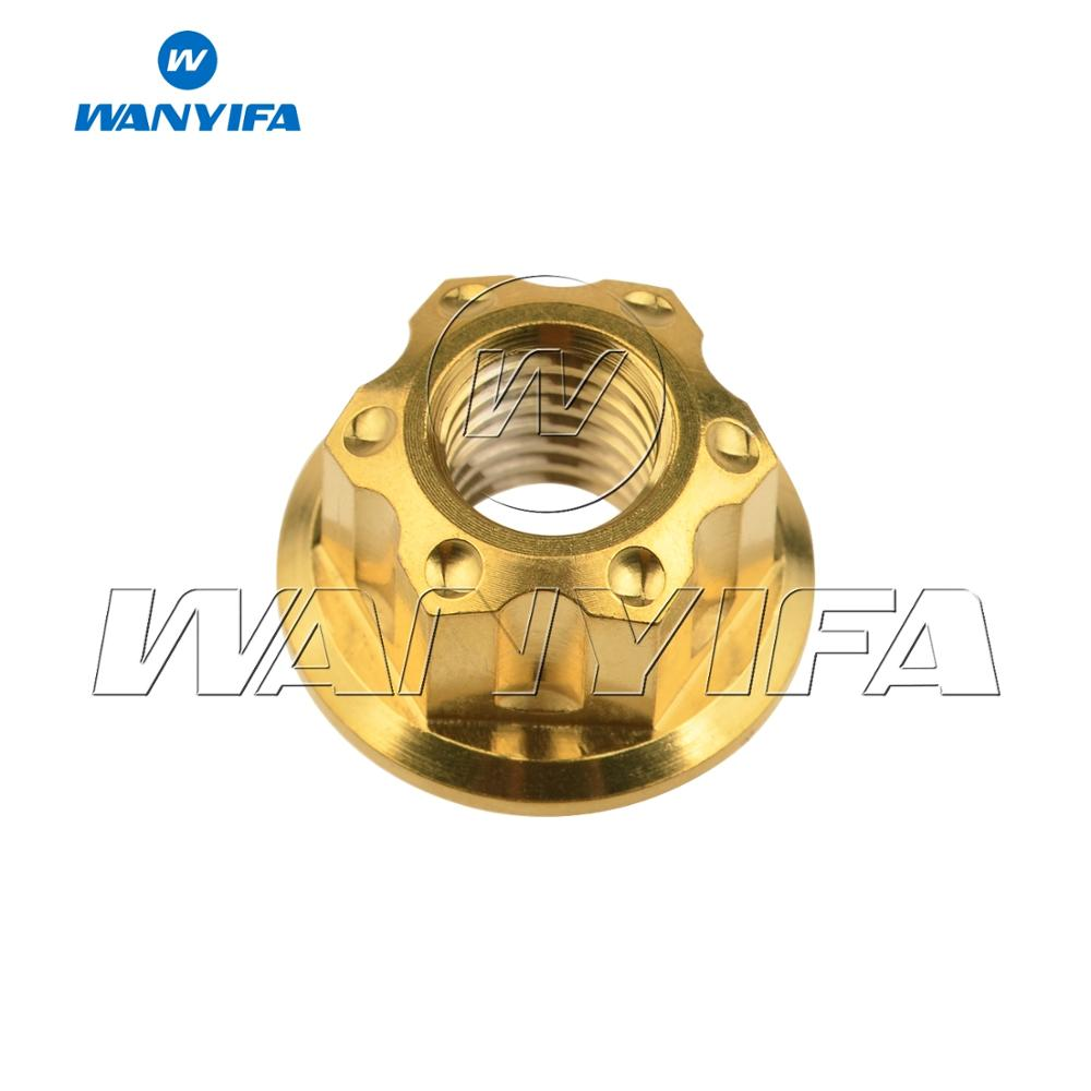 """Титановый """"Wanyifa"""" гайки Ti M6 M8 M12 гайка фланца болты для велосипеда аксессуары велосипед стоп-сигнал - Цвет: M8 gold"""