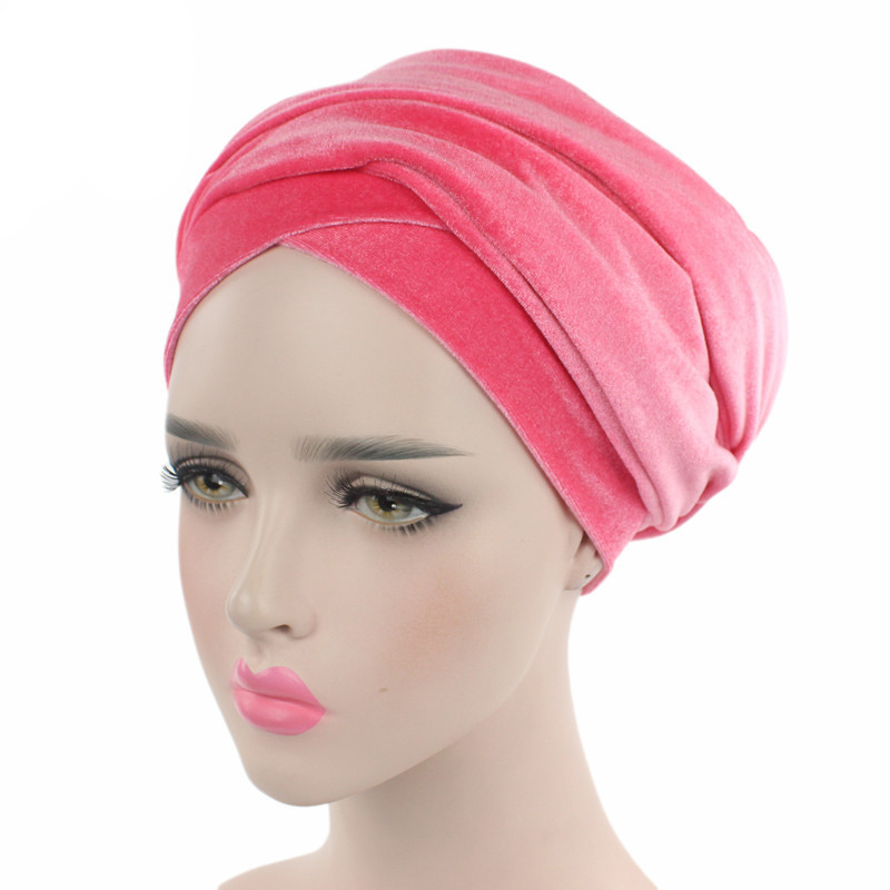 Ladies Muslim Hijabs Hat Long Tail Bandanas Cap Turban Hat Hair Accessories XIN-Shipping