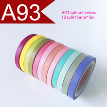 Free Shipping and Coupon washi tape,12 rolls set Washi tape,A93 colors-set,Optional collocation,on sale price of washi tape