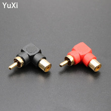 цена на YuXi 90 Degree RCA Right Angle Audio Connector Plug Adapters Male To Female M/F 90 Degree Elbow Audio Adapter Converter