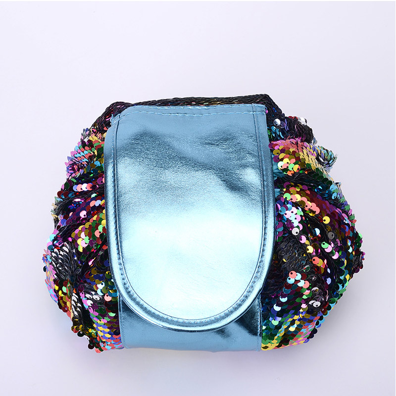 H60d28dbec2824ba0bc275f74a9d63a672 - New Mermaid Sequins Makeup Bag Pouch Glitter Sequins Cosmetic Bags Drawstring Shrink Storage Pack Portable Travel Toiletry Wash