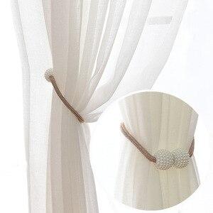 Image 2 - פרל מגנטי וילון Tieback חלון רצועת אבזם מחזיק קליפים תליית כדור וילון רצועות עיצוב הבית אבזרים