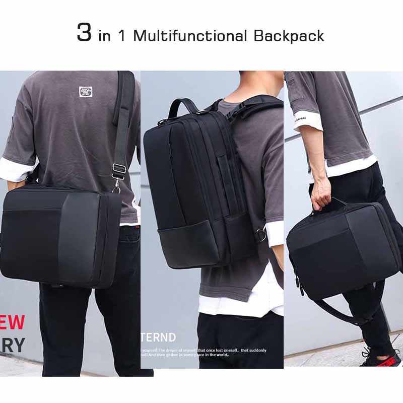 """Crossten 3 in 1 çok fonksiyonlu 16 """"laptop sırt çantası iş not defteri Mochila su geçirmez seyahat çantası USB şarj omuzdan askili çanta"""