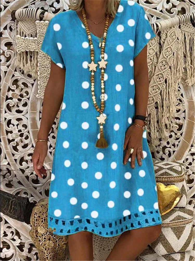 מנוקדת הדפסה קצר שרוול צווארון V שמלות Boho בגדי שמלה קיצית נשים קיץ מקרית Loose שמלת אופנה בתוספת גודל Clothings