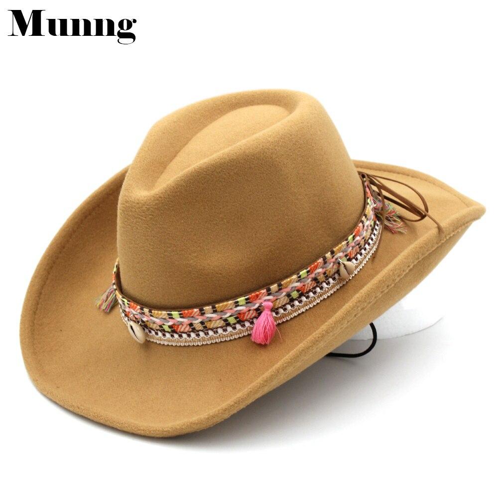 Munng Women's Ladies Western Cowboy Hat Cowgirl Cap Wool Blend Roll-up Wide Brim Tassel Band