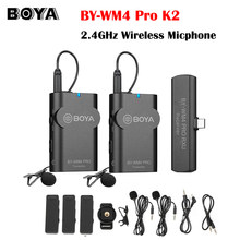 BOYA BY-WM4 Pro K6 K5 K4 K3 K2 K1 Lavalier Microphone 2.4GHz Wireless Condensador Microfone IOS Type-C Interface for Smartphone