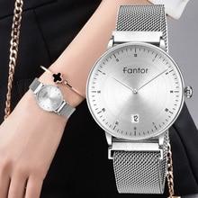 Fantor العلامة التجارية النساء الموضة الفاخرة شبكة فضية المغناطيسي مقاوم للماء أنيقة السيدات ساعة معصم relogio feminino