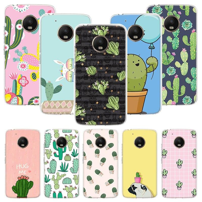 Cactus Vintage Flower Case For Motorola Moto G8 G7 G6 G5S G5 E6 E5 E4 Plus G4 Play Power X4 One Action Phone Cover Coque