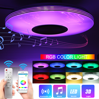 Smuxi 80W bluetooth LED Music Ceiling Lights Silver line APP/Remote Control Dimming RGB LED ceiling Lamp 220V/100 260V Fixtures
