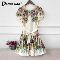 DLINGHAN Fashion Floral Print Cotton Linen Dress Elegant Bow Sashes Vintage Dresses Summer Women'sNew