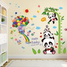 [SHIJUEHEZI] Pandas Elephant Animals Wall Stickers DIY Balloons Bamboo Height Decor for Kids Room Baby Bedroom Decoration