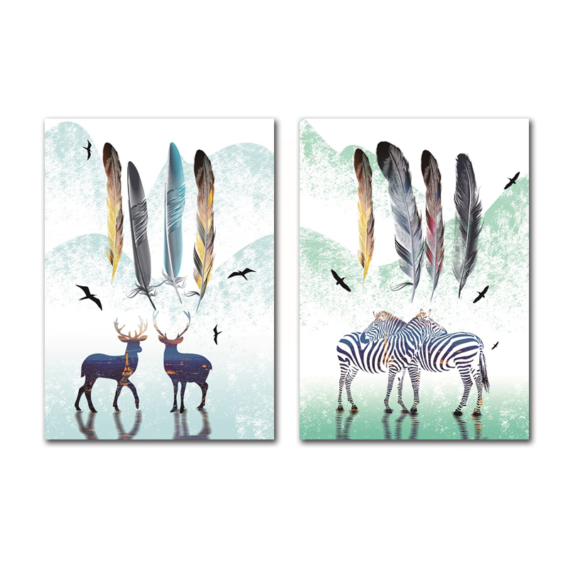 Abstract Animal Feather Home Wall Painting Elk Zebra Flying Bird Feather Landscape Frameless Canvas Printing Decoration Poster  - buy with discount