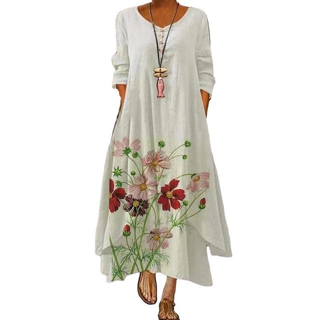 MOVOKAKA 2021 White Long Dress Women Floral Print Vintage Long Sleeve Elegant Dress Plus Size Vestido Women Casual Dresses Party 3