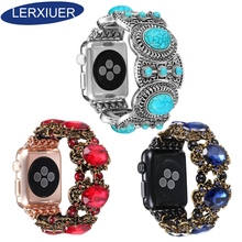 Lerxiuer Jewelry Strap For Apple Watch 4 band 44mm 40mm correa iwatch 42mm 38mm diamond Turquoise watchband for apple watch 5