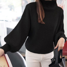 Women Sweaters autumn Fashion casual warm Long Lantern Sleeve Pullovers Loose Knitted girls Sweaters plus size Tops(China)