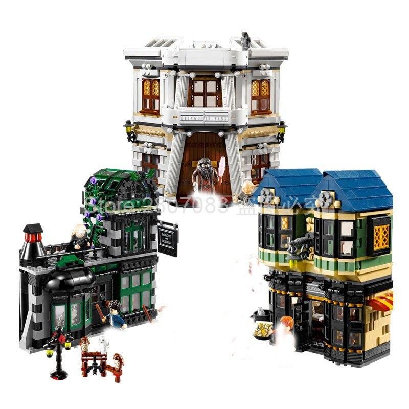 16012 In Stock Harri Potter Movie Magic Word Alley Model Building Kit Block Bricks Compatible Movie  10217