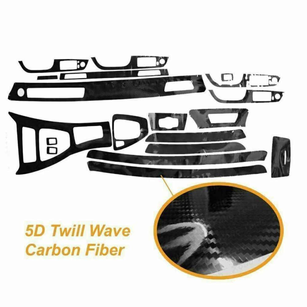 سيارة 5D الداخلية كربون صقل الألياف التفاف الكسوة ملصق ديكور أسود لسيارات BMW 3 سلسلة E90 2005-2012 ملصقات إطار لوحة السيارات