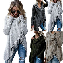 Womens Lady Knitted Poncho Jumper Sweater Cardigan Tassel Fringe Shawl  Coat