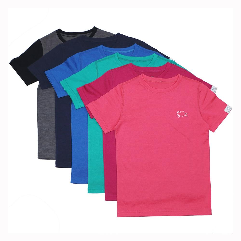 Merino Wool Fashion Kids Short Sleeve T Shirt Base Layers 100% Superfine Merino Soft Next To Skin Comfortable Out Door Boy&girl