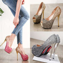 цены BIG SIZE 39 super High Heels Wedding Party Shoes Women Pumps High Heels 14cm Thick Soles Open peep Toe Sexy Pumps Platform CZ-93
