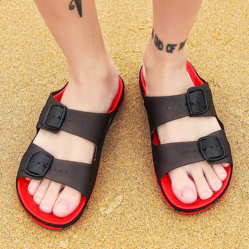 Men's Summer Slides Slippers Men Jelly Shoes Breathable Flat Slippers Water Beach Sandals Lightweight Unisex Beach Sandals 5