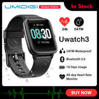 UMIDIGI Uwatch3 inteligentny zegarek mężczyźni kobiety 5ATM wodoodporna opaska monitorująca aktywność fizyczną opaska sportowa nocny monitor pracy serca dla android ios Reloj