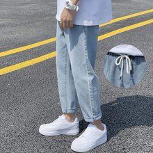 Calças de brim femininas sólido em linha reta tornozelo comprimento bolsos solto outono moda masculina todos os jogos diário simples oversize ulzzang harajuku chique