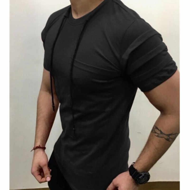 Merek Pakaian Warna Murni Pria T Shirt Pria Sehat Kasual O Kerah Slim Tubuh Lengan Pendek T Shirt bergaris Pleat Lengan Pendek