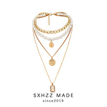 SXHZZ Simple Single/Multiple Layer Simulated Pearls Ladies Necklaces for Women Fashion Jewelry Sweater Chain Party Club