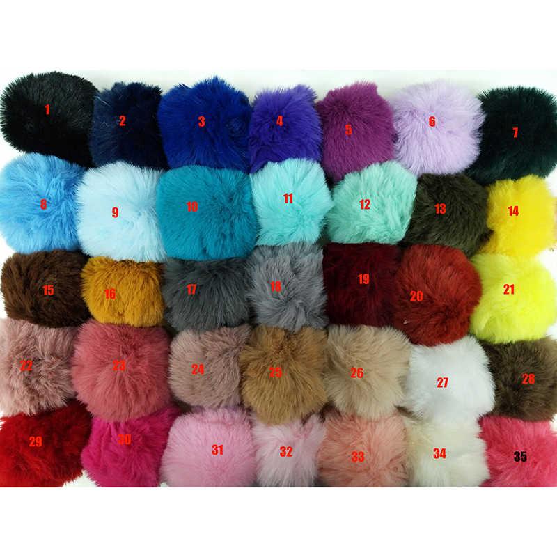35 цветов DIY 8 см помпон из искусственного меха кролика Шар-помпон пушистый помпон шарик из искусственного кроличьего меха кулон с небольшим эластичным шнуром для шапки Обувь Сумки Шарфы перчатки аксессуары