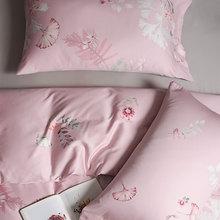 Conjunto de ropa de cama de Europa americana funda de edredón funda de almohada de cama textil doble hogar planta Rosa vintage algodón reina rey