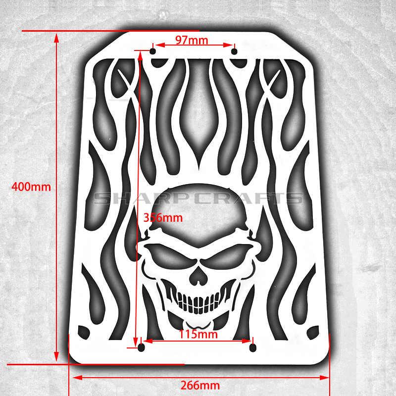 Аксессуары для мотоциклов, стальной корпус радиатора с пламенем и черепом, защитная крышка для гриля, резервуар для воды, крышка охладителя для KAWASAKI VULCAN VN 1500 1700