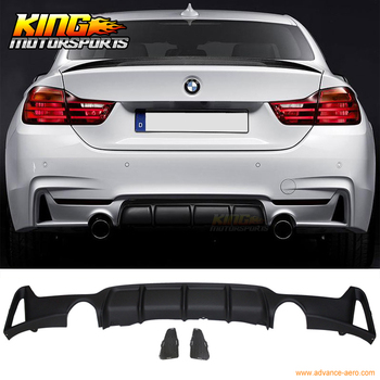 Fit For 2014-2016 F32 435i M Performance Rear Bumper Diffuser Twin Quad Outlet PP image