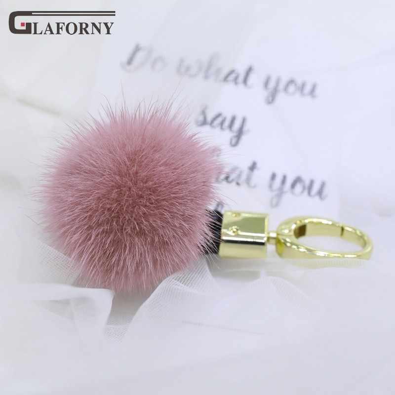 2019 saco de chaveiro pingente de bola de cabelo de pele de vison genuíno importado Glaforny ornamento decoração moda real fur chave anel chave de cadeia
