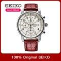 100% Original Seiko 5 Solar energy Quartz Watch Luminous hands Calendar Leather Sraps Business Fashion Watch Global Warranty