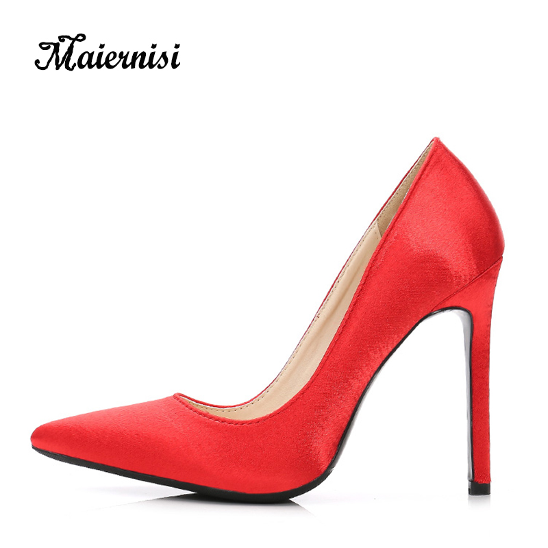 MAIERNISI Shoes Woman High Quality Satin High Heels Women Pumps Ladies Office Shoes Heel Woman Pointed Toe Summer Sandals