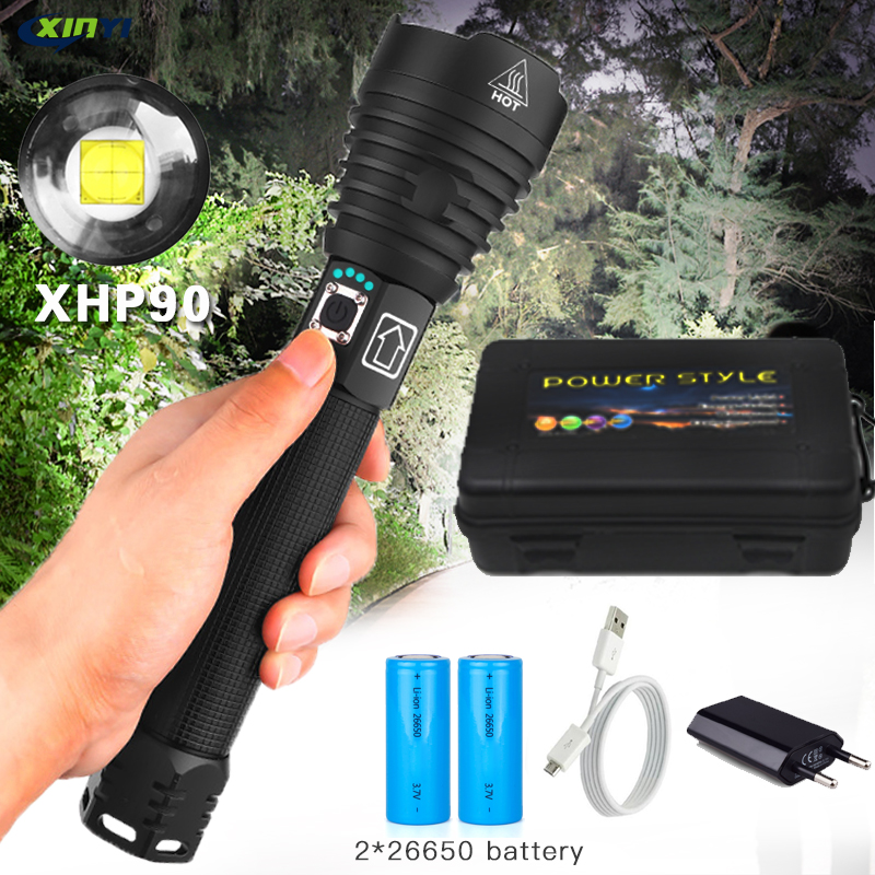 90000LM Most Powerful  XHP90 LED Flashlight Tactical Waterproof Torch 3 Modes Zoomable Hunting Camping Lamps By 18650 Or 26650