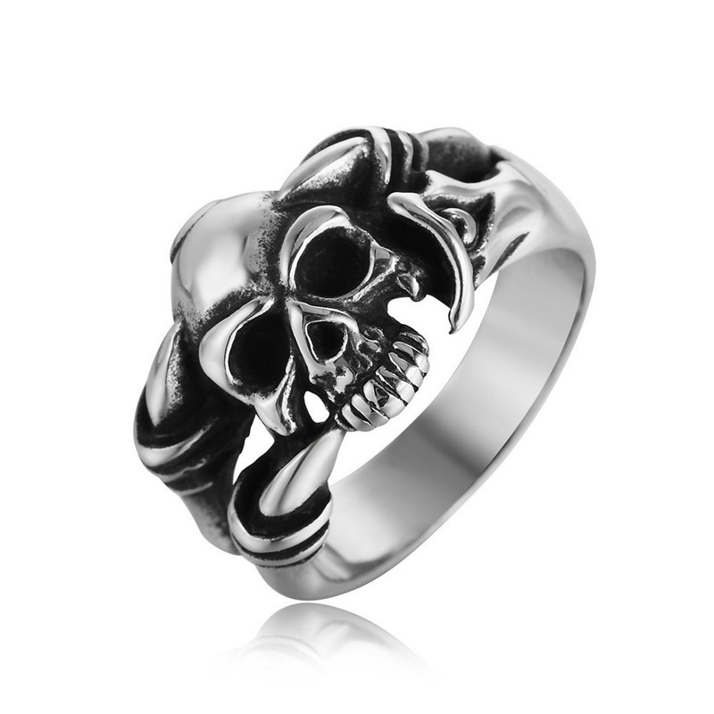 Fashion retro gothic skull ring jewelry men's women's universal ring party jewelry hip hop holiday gifts wholesale
