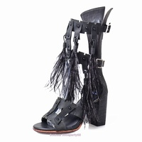 Buckle Straps Tassels Feather Chunky High Heeled Sandals Women Knot Gladiator Leather SummerHigh Heel Dress Shoes