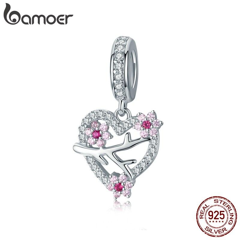 Bamoer Plum Blossom Branch Pendant Charms For Women Original Bracelet & Bangle 925 Sterling Silver Jewelry Making BSC151