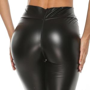 Image 5 - Sexy Faux Leather Zip Open Hot Pants and Cropped Wrap Top Bustier Bra Stretchy Hip Push Up Skinny Leggings Mistress Costume