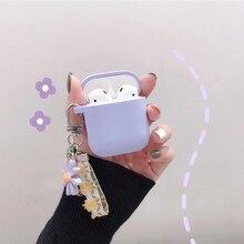 Lüks sevimli kore çiçek dekorasyonu kılıf Apple Airpods için kılıf süs aksesuarları Bluetooth kulaklık silikon katlanır anahtar yüzük