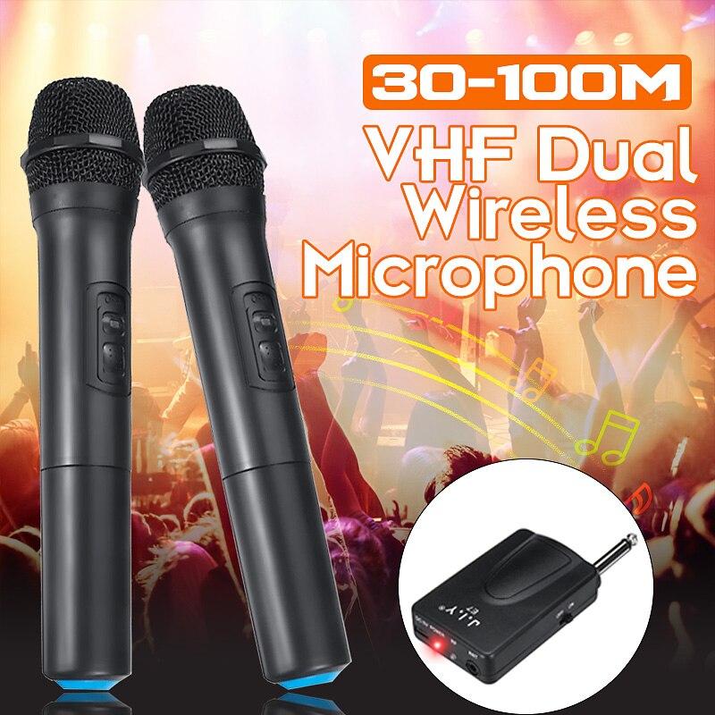 LEORY 2Pcs VHF Wireless Karaoke Microphone Speaker 2 Handheld MIC KTV Player Independent/hybrid Automatic Selection