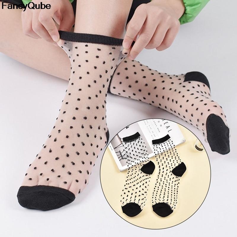Women Ladies Socks Fashion Sheer Mesh Glass Silk Socks Ultrathin Transparent Crystal Lace Fabulous Elastic Summer Ankle Sock