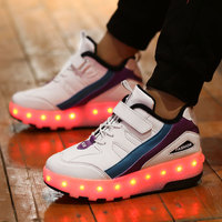 New White Black USB Charging Fashion Girls Boys LED Light Roller Skate Shoes For Children Kids Sneakers With Wheels Two wheels