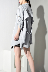 Image 3 - LANMREM 2020 Spring New Fashion Casual Women Long Coat Solid Color Loose Large Size Belt Windbreaker TC113