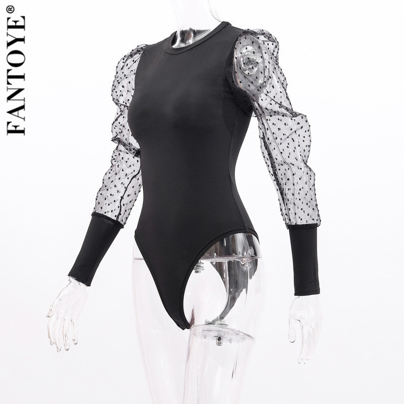 H60d53c548b7d440187897ffd323b12bcV - FANTOYE New Lace Puff Sleeve Women's Bodysuit Autumn Long Sleeve Polka Dot Vintage Bodycon Jumpsuit Tops Skinny Mesh Bodysuits