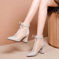 Sandals Boots Women Thick Heel with Mesh Short Boots 2020 New Spring Pointed toes Peep toes Boots High Heeled Sandals Shoes